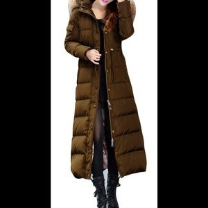 Brown Green Long Slim Duck Down Puffer Coat, Sz. S